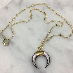 Boho 18K Gold Horn Crescent Necklace